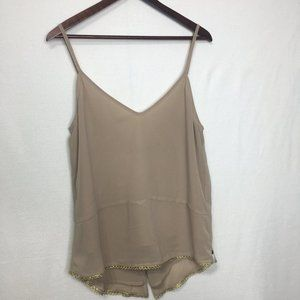 One Teaspoon Tan Tank Top With Gold Detailing